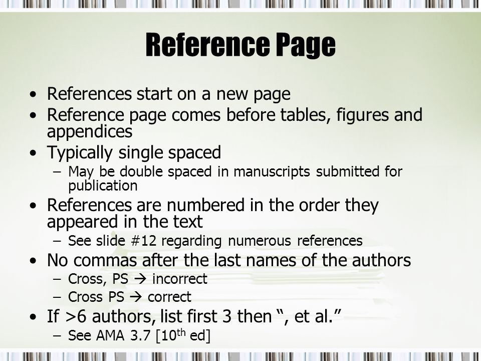Reference Page References start on a new page
