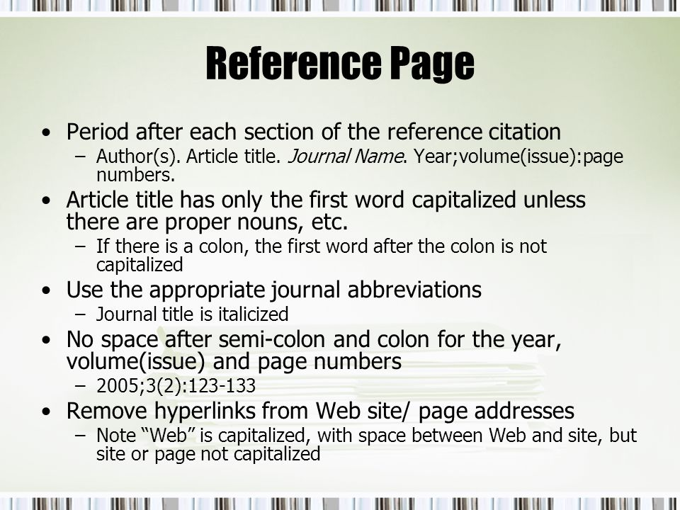 Reference Page Period after each section of the reference citation