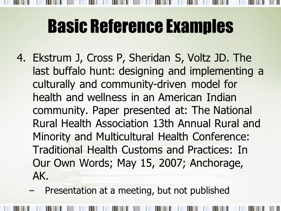Basic Reference Examples