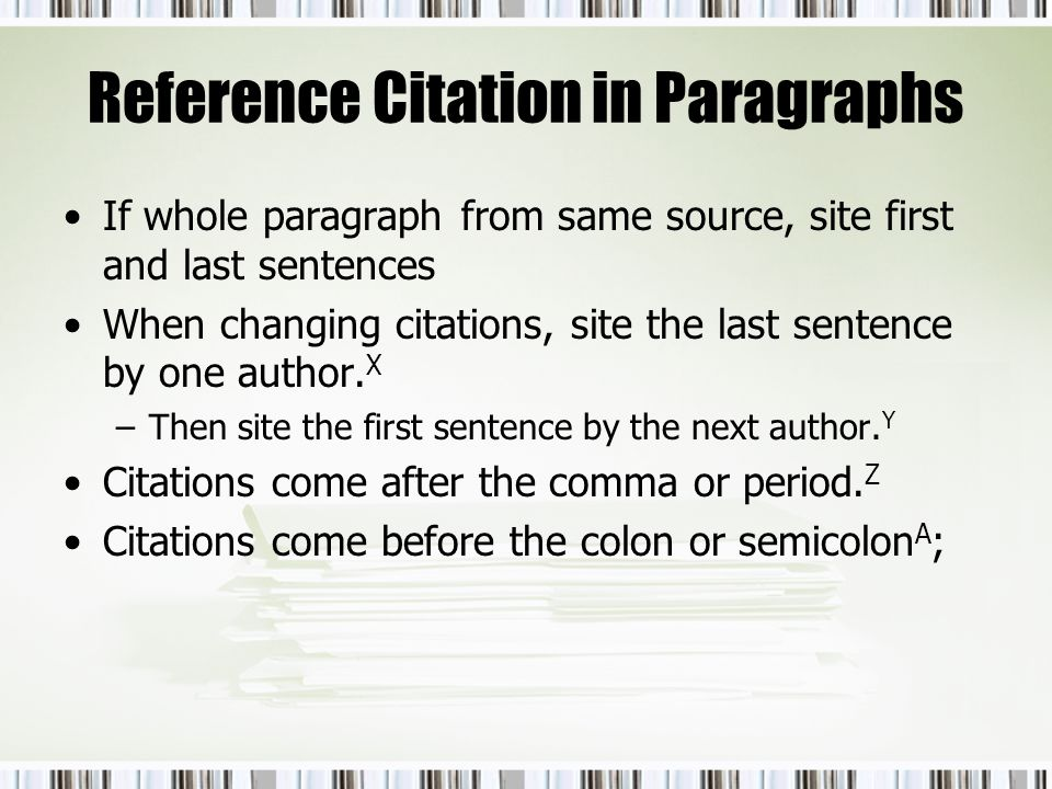 Reference Citation in Paragraphs