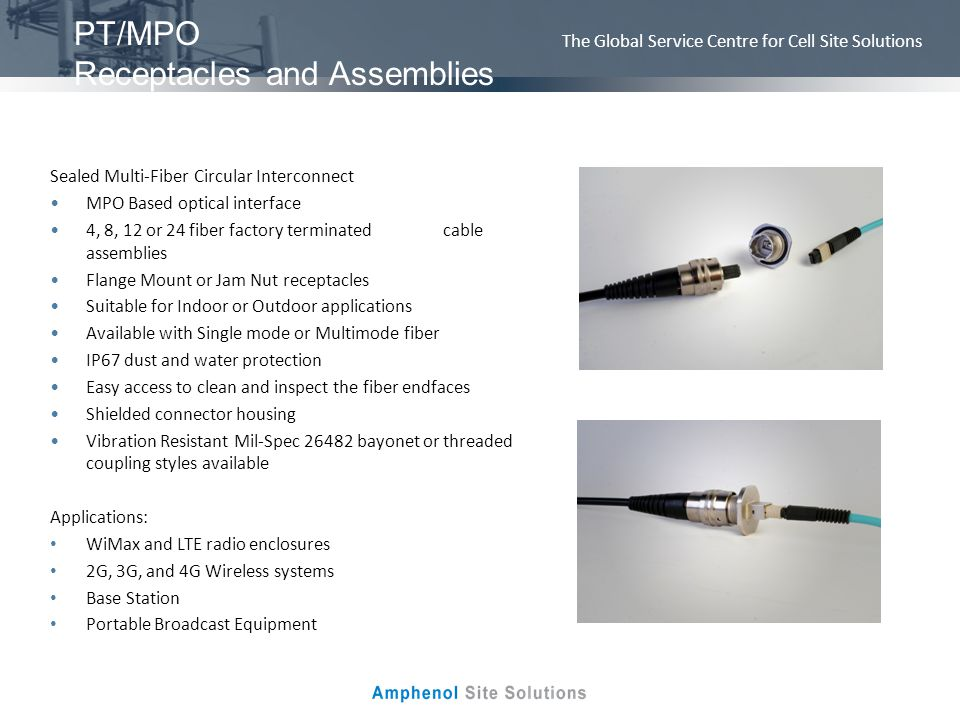 PT/MPO Receptacles and Assemblies