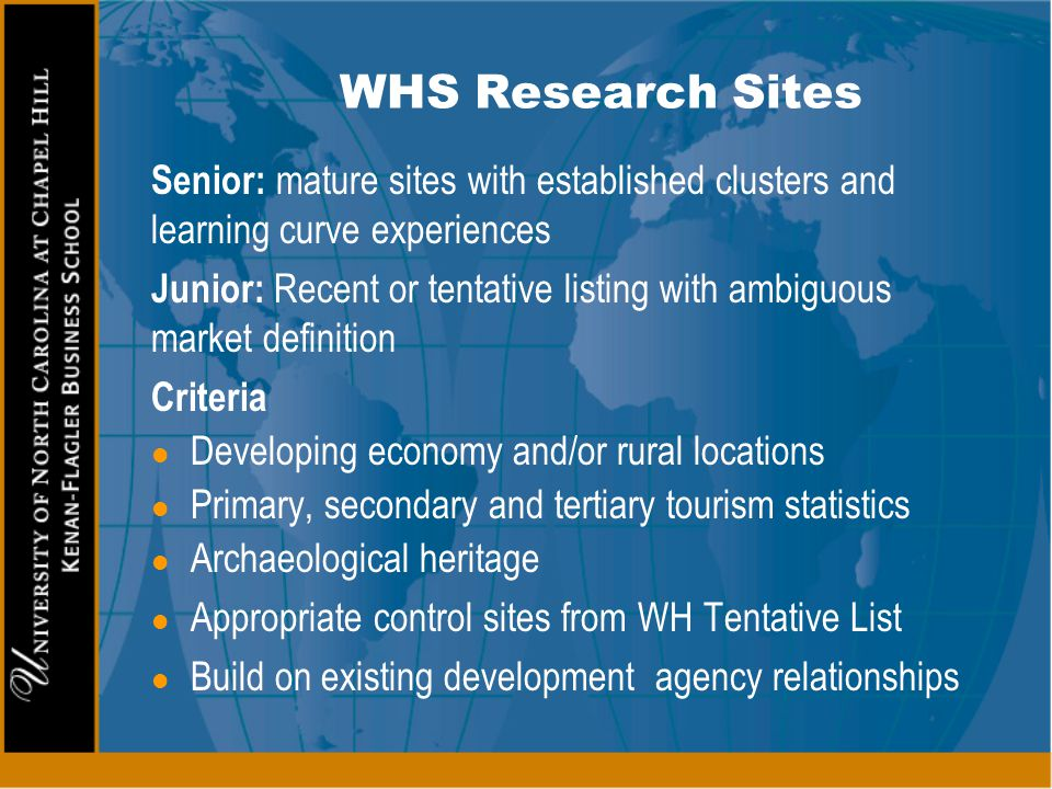 WHS Research Sites Senior: mature sites with established clusters and learning curve experiences.