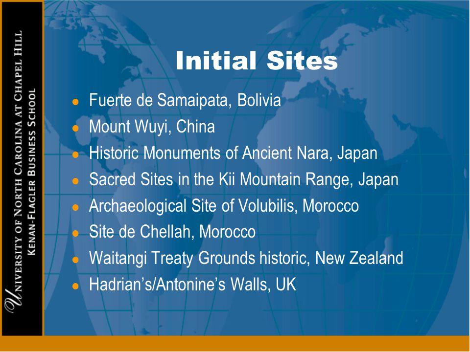 Initial Sites Fuerte de Samaipata, Bolivia Mount Wuyi, China