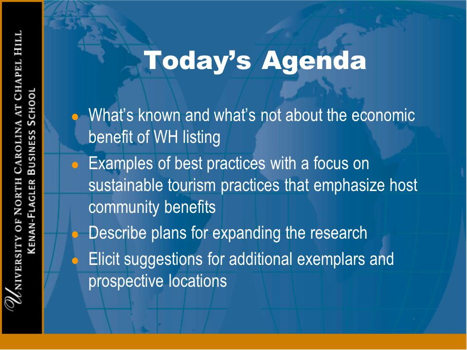 Today's Agenda What's known and what's not about the economic benefit of WH listing.