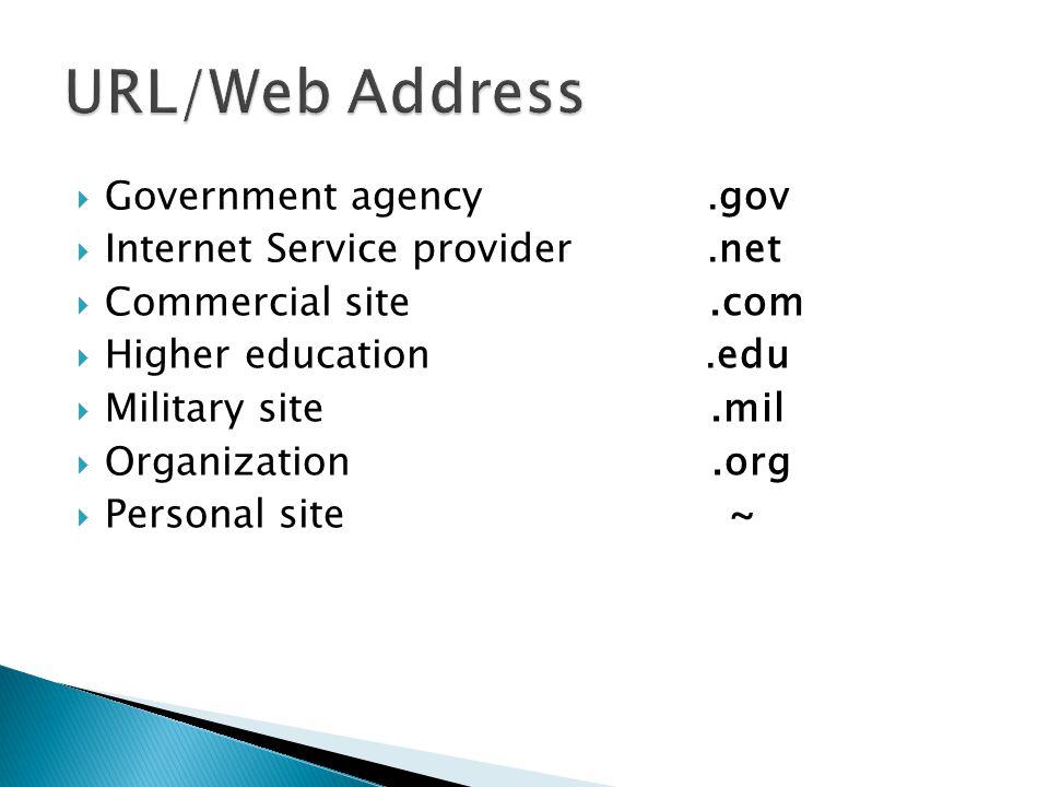 URL/Web Address Government agency .gov Internet Service provider .net