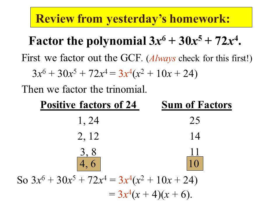 Review from yesterday's homework: