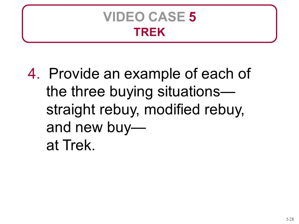 VIDEO CASE 5 TREK. 4. Provide an example of each of the three buying situations—straight rebuy, modified rebuy, and new buy— at Trek.