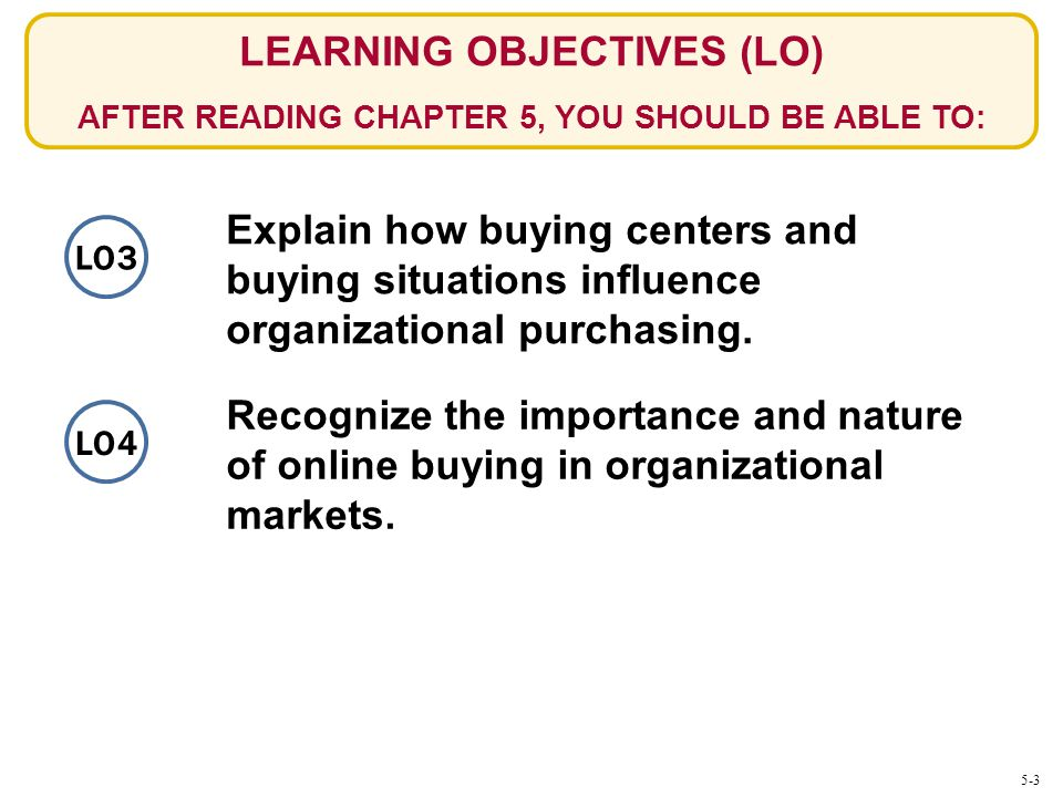 LEARNING OBJECTIVES (LO) AFTER READING CHAPTER 5, YOU SHOULD BE ABLE TO:
