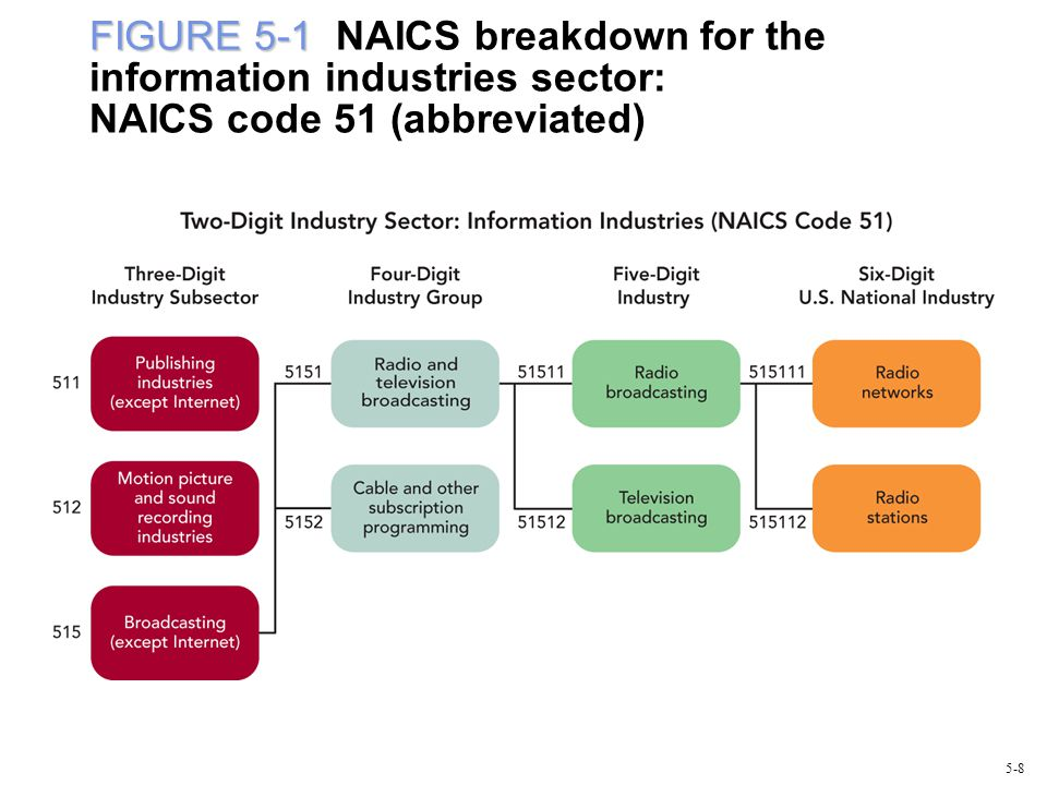 FIGURE 5-1 NAICS breakdown for the information industries sector: NAICS code 51 (abbreviated)