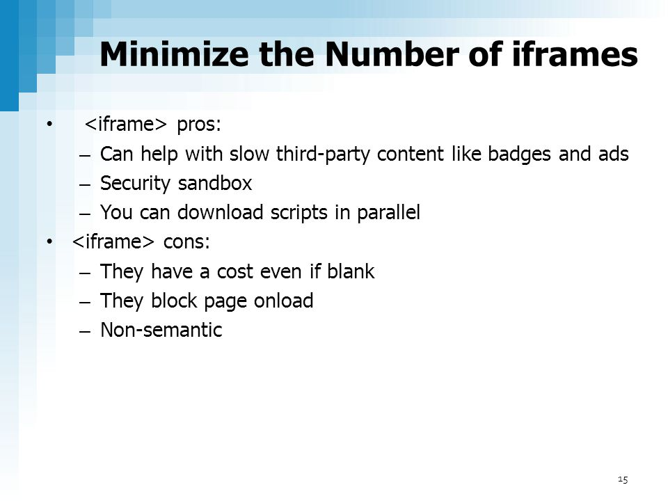 Minimize the Number of iframes