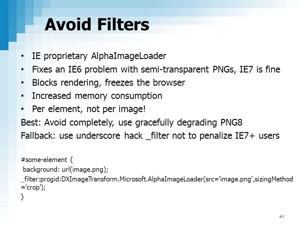 Avoid Filters IE proprietary AlphaImageLoader