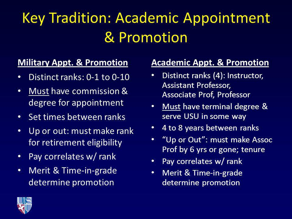 Key Tradition: Academic Appointment & Promotion