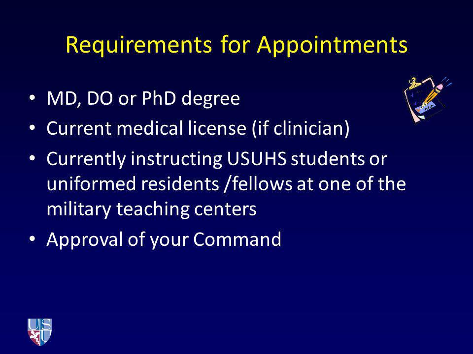Requirements for Appointments