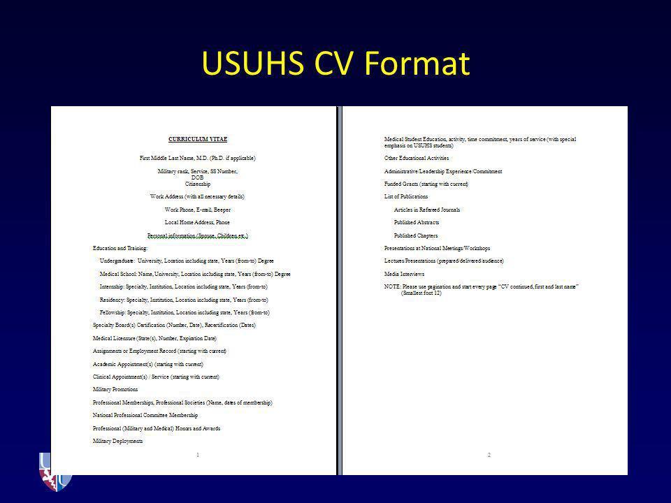 USUHS CV Format