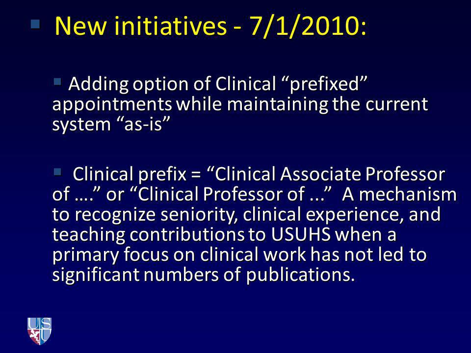 New initiatives - 7/1/2010: Adding option of Clinical prefixed appointments while maintaining the current system as-is