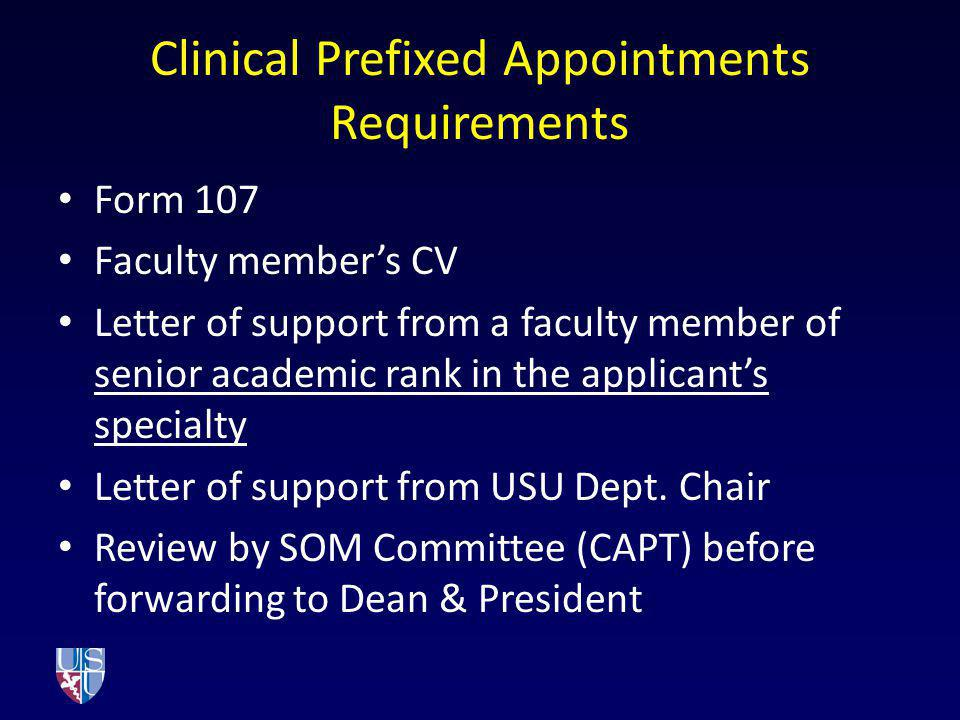 Clinical Prefixed Appointments Requirements