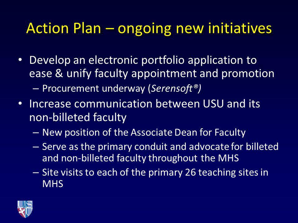 Action Plan – ongoing new initiatives