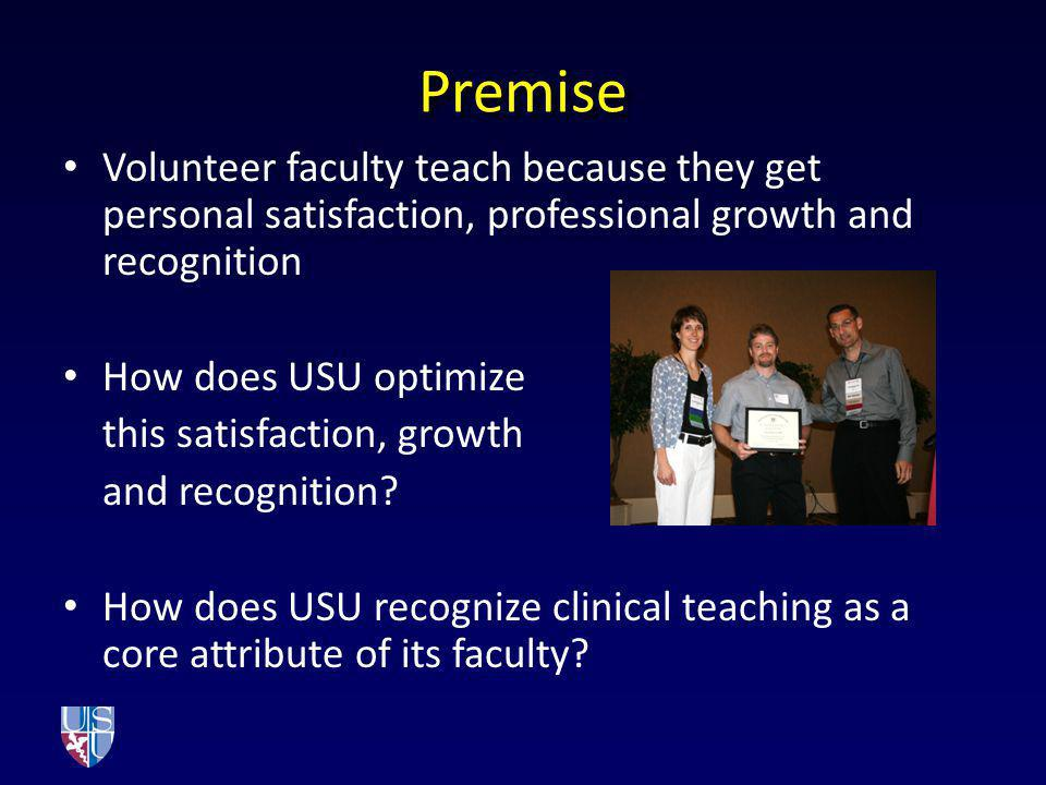 Premise Volunteer faculty teach because they get personal satisfaction, professional growth and recognition.