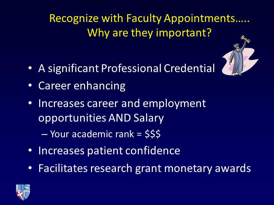 Recognize with Faculty Appointments….. Why are they important
