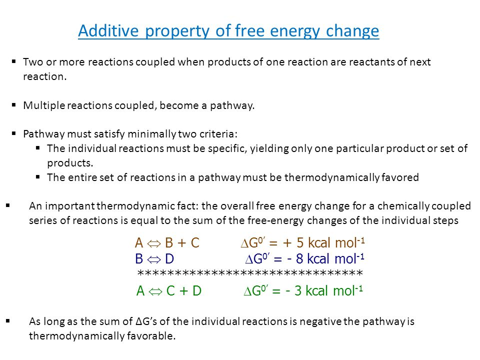 Additive property of free energy change