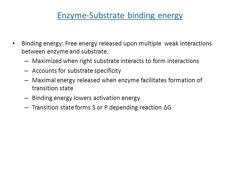 Enzyme-Substrate binding energy