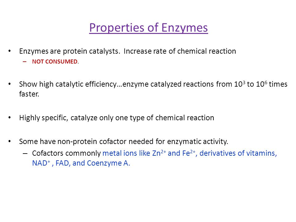 properties of enzyme catalysts 130 chapter 6 enzymes: the catalysts of life (a) reaction sequence (b) thermal activation free energy (g) atp + h 2 o transition state adp + p i e a kinetic energy of molecules number of molecules t 1 t 2 e a n 2 free energy (g) atp + h 2o adp + p i.