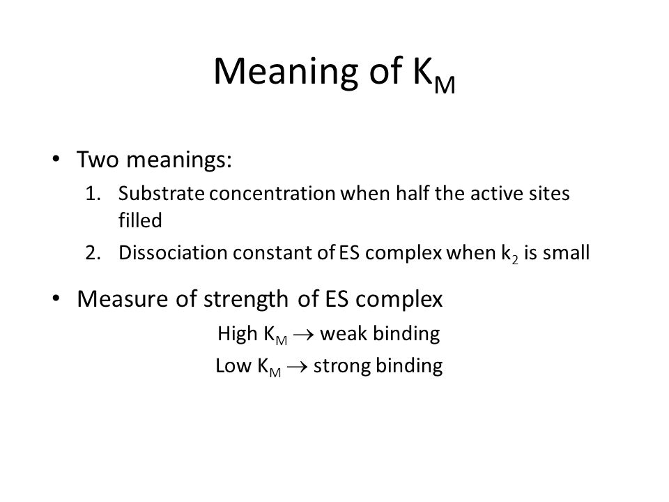 Meaning of KM Two meanings: Measure of strength of ES complex