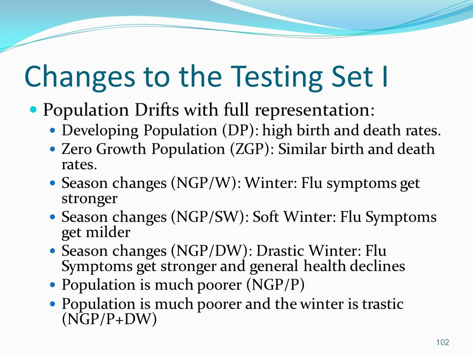 Changes to the Testing Set I