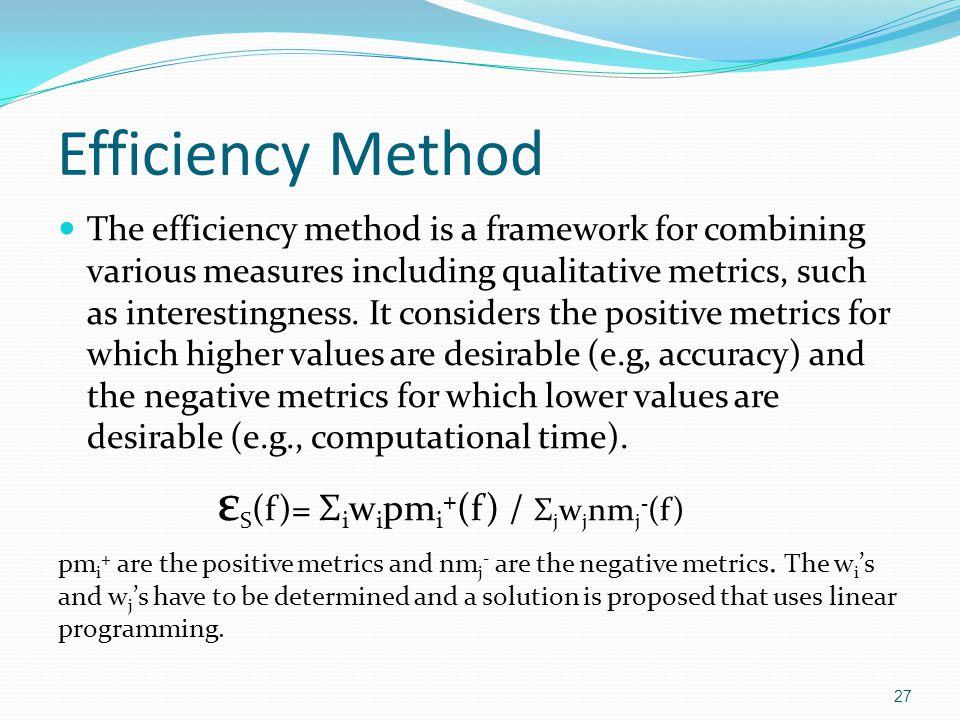 Efficiency Method εS(f)= Σiwipmi+(f) / Σjwjnmj-(f)