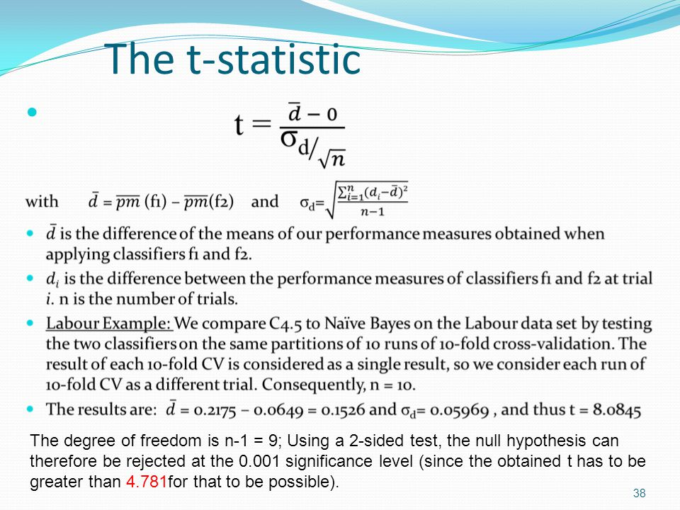 The t-statistic The degree of freedom is n-1 = 9; Using a 2-sided test, the null hypothesis can.