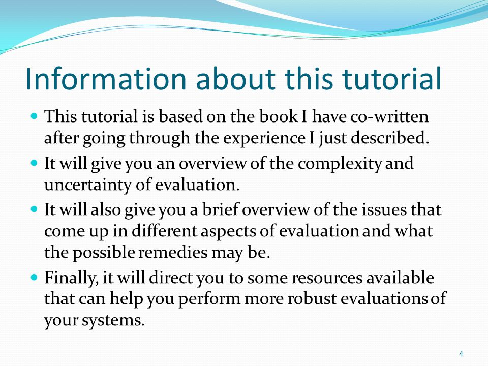 Information about this tutorial