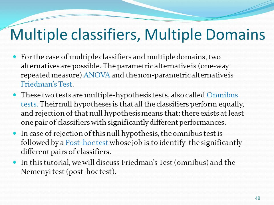 Multiple classifiers, Multiple Domains