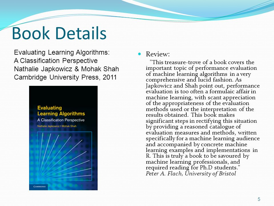 Book Details Review: Evaluating Learning Algorithms: