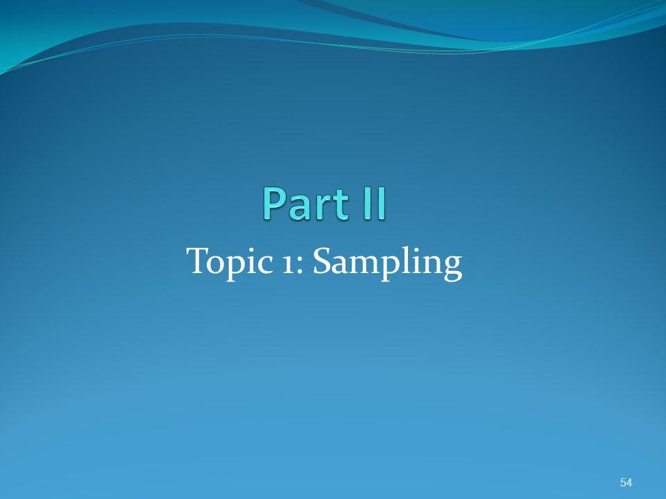 Part II Topic 1: Sampling