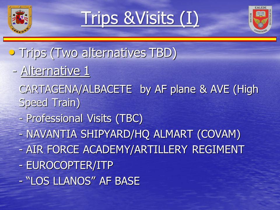 Trips &Visits (I) Trips (Two alternatives TBD) - Alternative 1