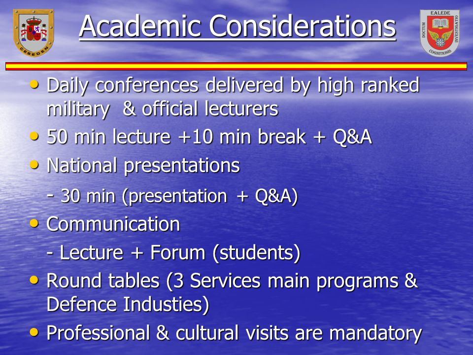 Academic Considerations