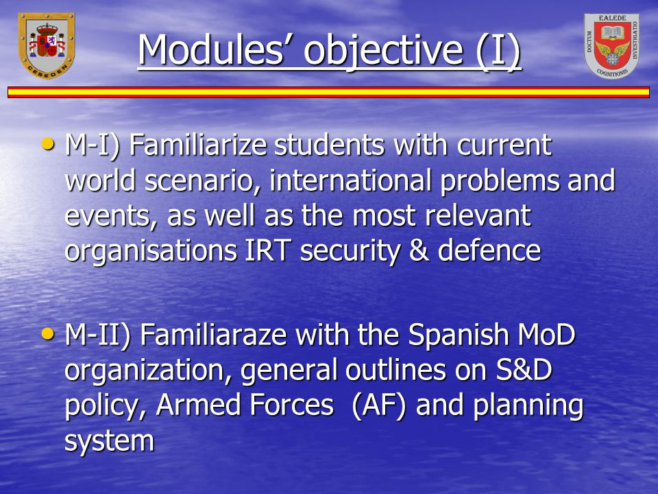 Modules' objective (I)