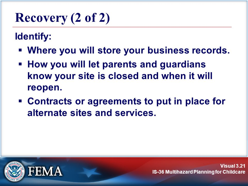Recovery (2 of 2) Identify: