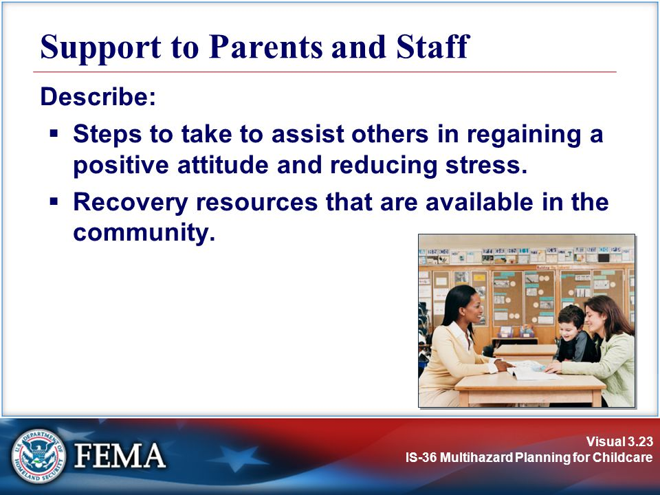 Support to Parents and Staff