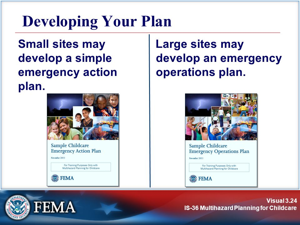 Developing Your Plan Small sites may develop a simple emergency action plan.