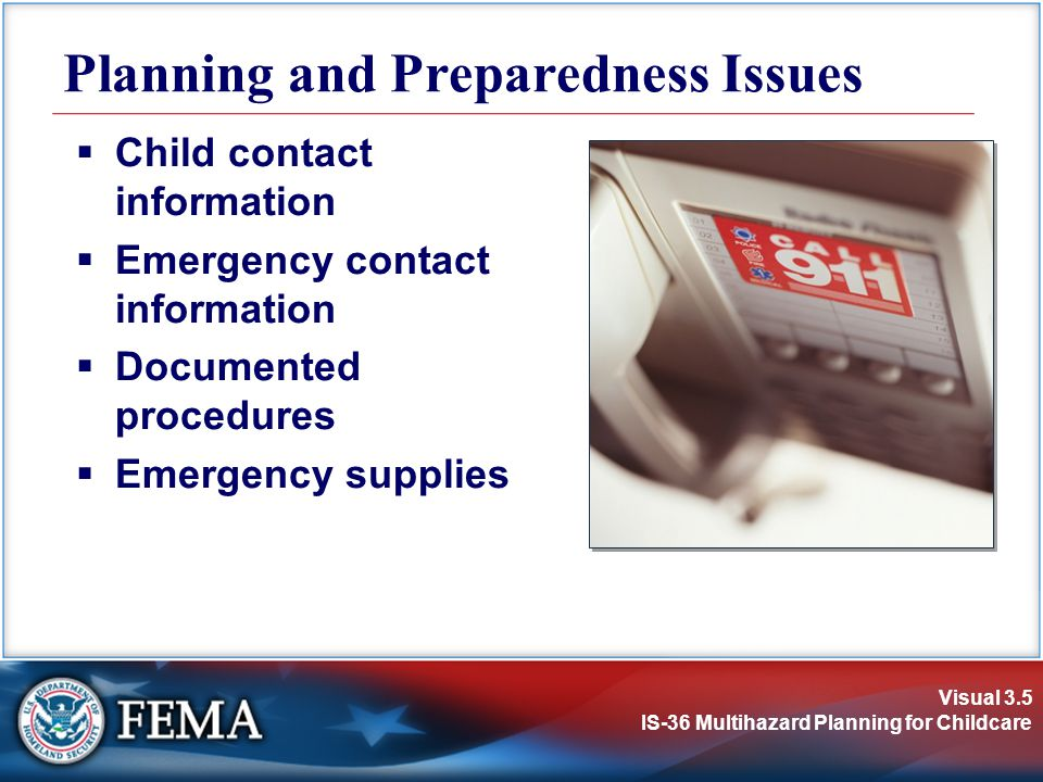 Planning and Preparedness Issues