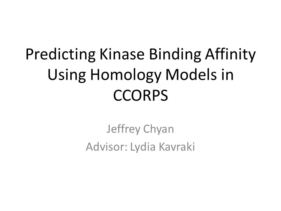 Predicting Kinase Binding Affinity Using Homology Models in CCORPS