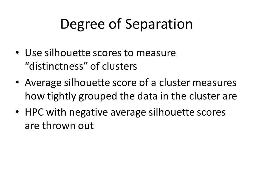 Degree of Separation Use silhouette scores to measure distinctness of clusters.