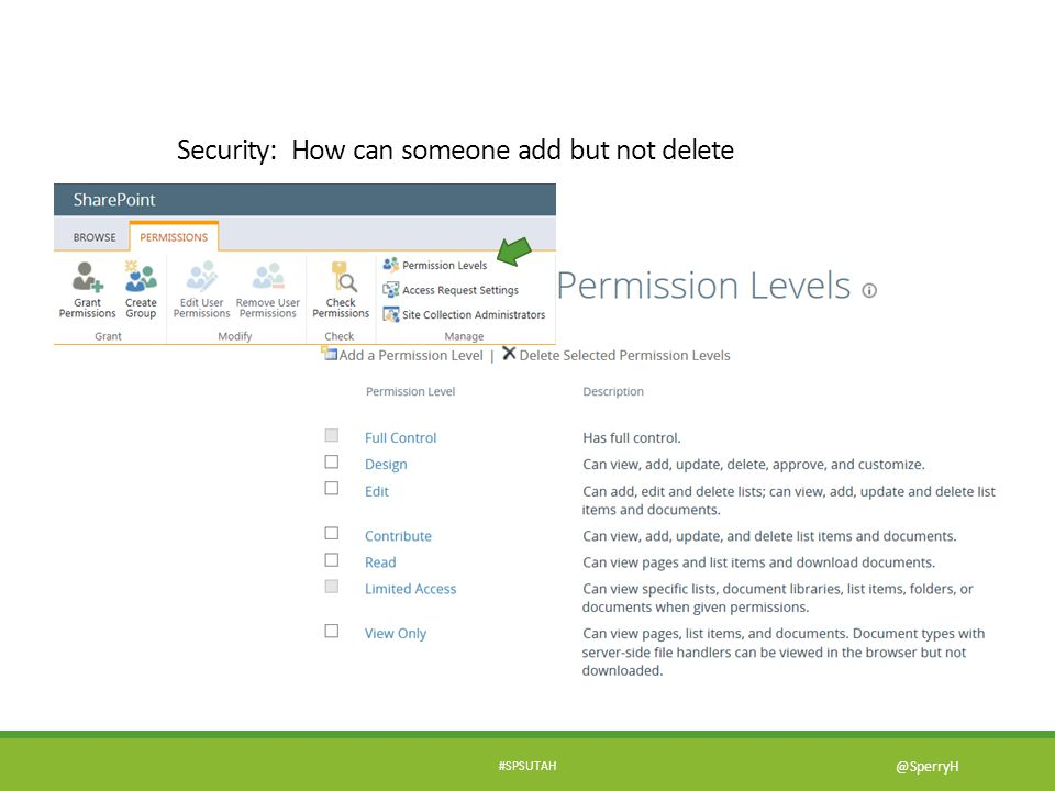 Security: How can someone add but not delete