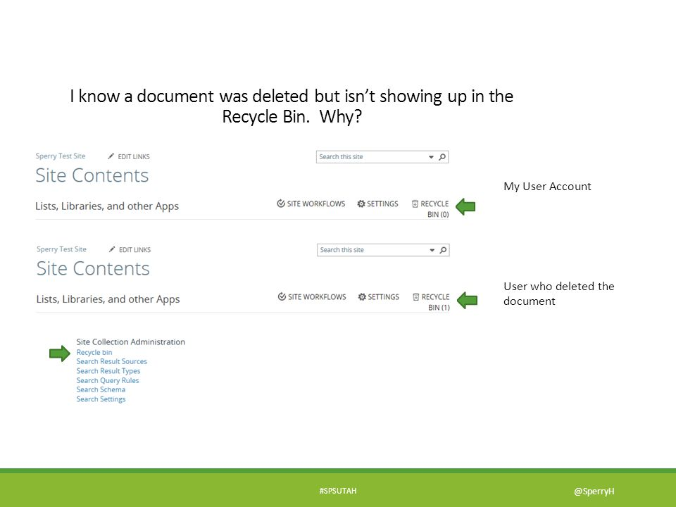 I know a document was deleted but isn't showing up in the Recycle Bin
