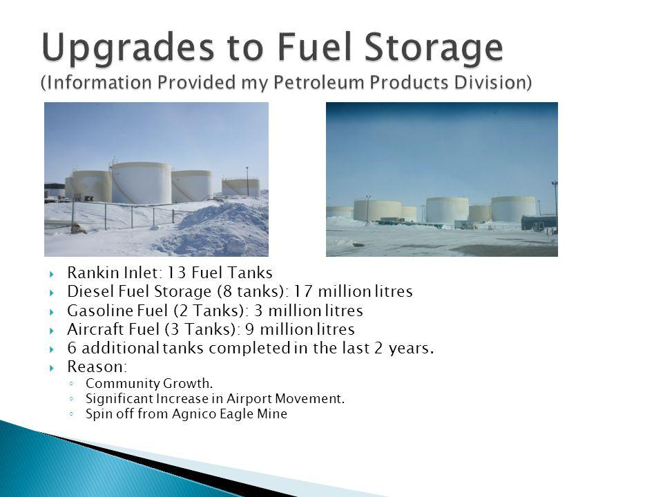 Upgrades to Fuel Storage (Information Provided my Petroleum Products Division)