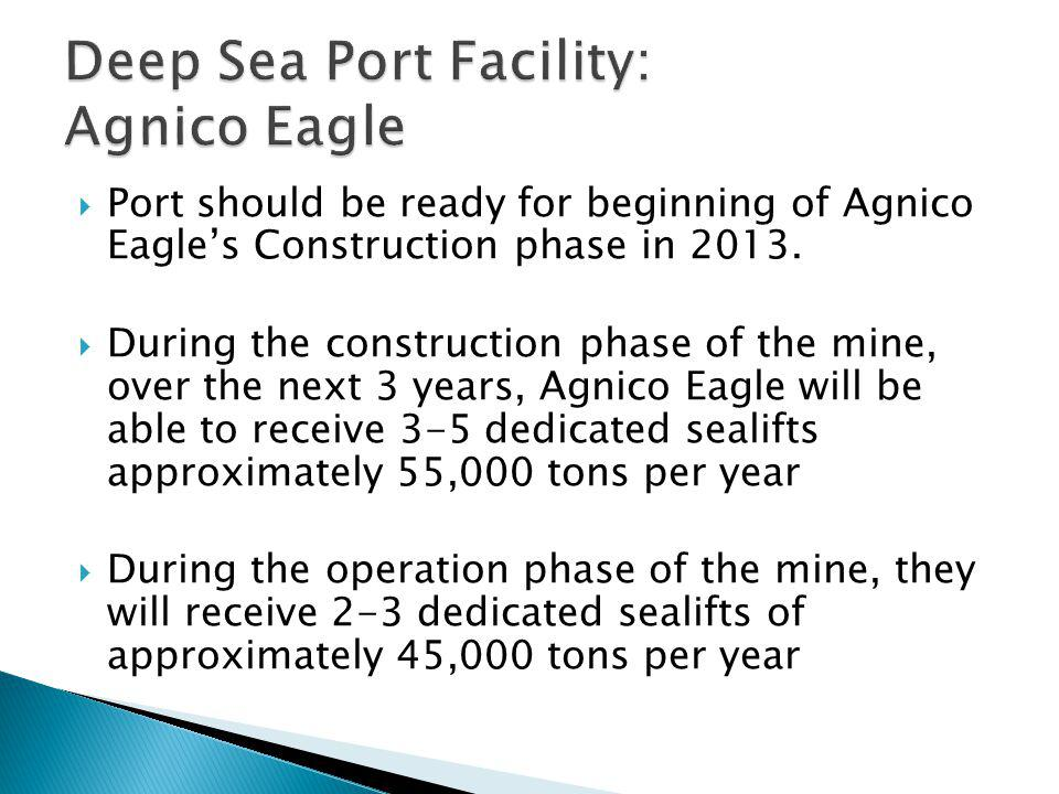 Deep Sea Port Facility: Agnico Eagle