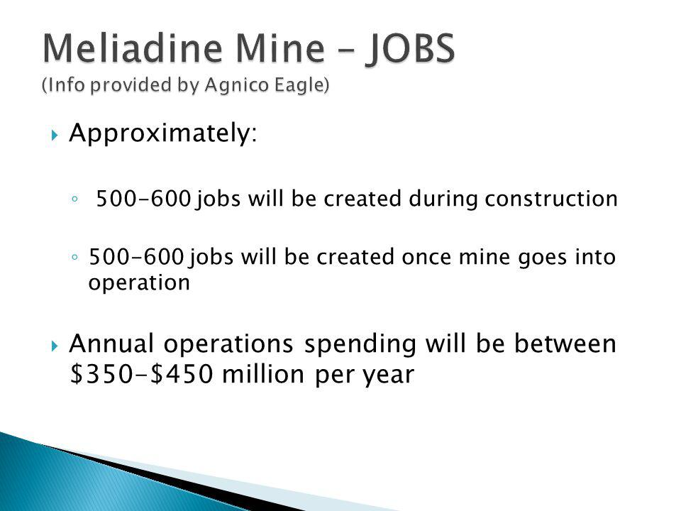 Meliadine Mine – JOBS (Info provided by Agnico Eagle)