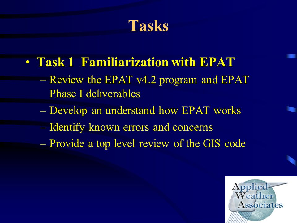 Tasks Task 1 Familiarization with EPAT