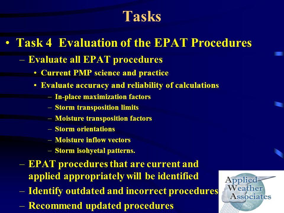 Tasks Task 4 Evaluation of the EPAT Procedures